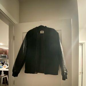 Black faux leather bomber coat